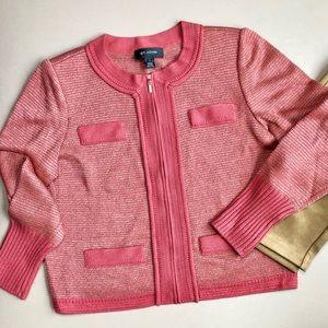 St. John Rare Red Metallic Wool Zip Sweater Jacket